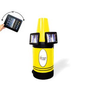 iPad Kiosk Holder (2) Side by Side Yellow