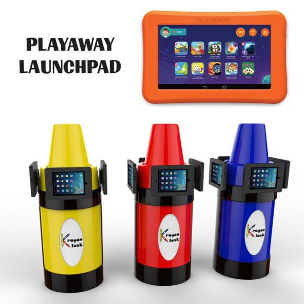 (3) tablet holder kiosk launchpad playaway
